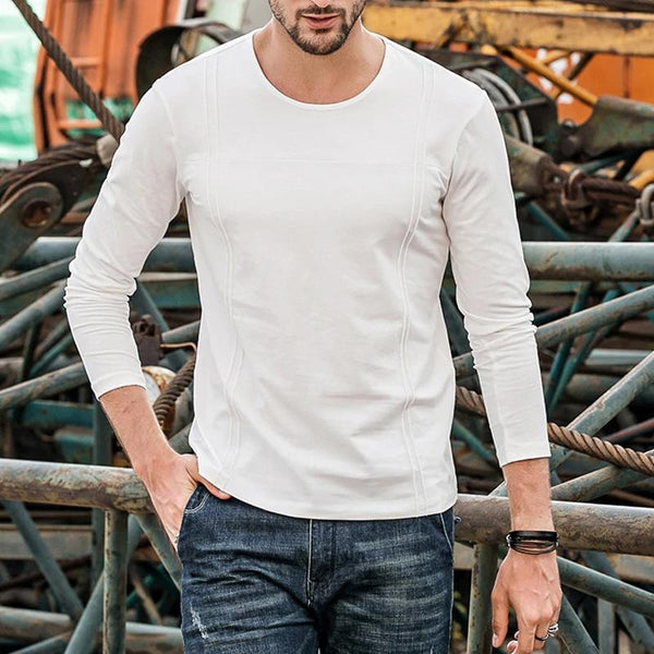 Mens Round Neck Plain Long Sleeve T-Shirt