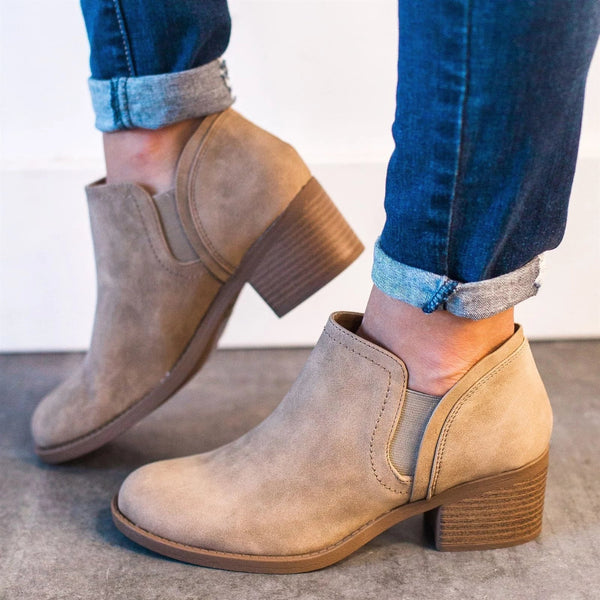 Fashion Square Middle Heel Ankle Boots