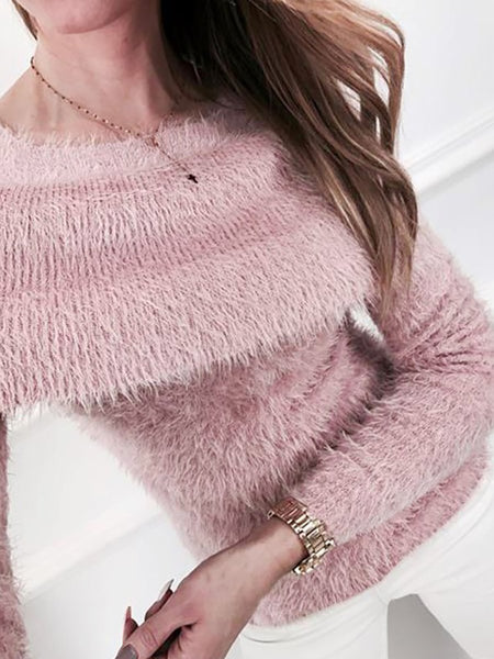 Open Shoulder  Cutout Flounce Frayed Trim  Plain Sweaters