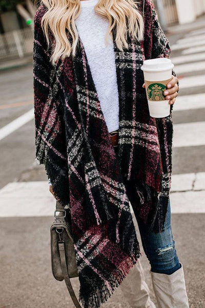 Fringe Snap Front  Checkered Outerwear