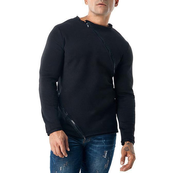 Men's Sweater Zipper Double Zipper Round Neck Pullover T-Shirt