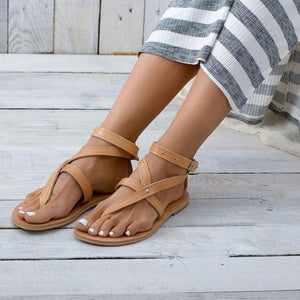 Roman Style Toe   Buckle Flat Sandals
