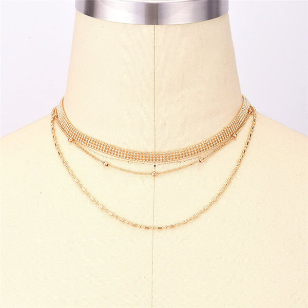 Fashion   Multi-Layer Bead Chain Necklace