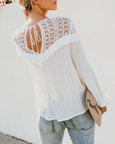 Ruffled Lace Stitching Perspective Shirt
