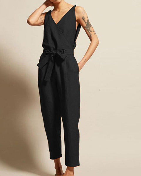 V-Neck High Waist Belt Casual Jumpsuit