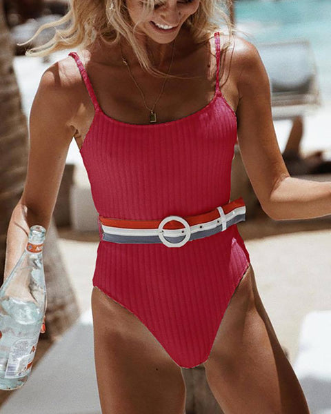 Sling Belt Halter Swimsuit