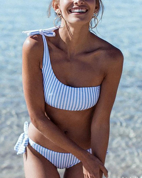 One-Shoulder Striped Lace-Up Bikini