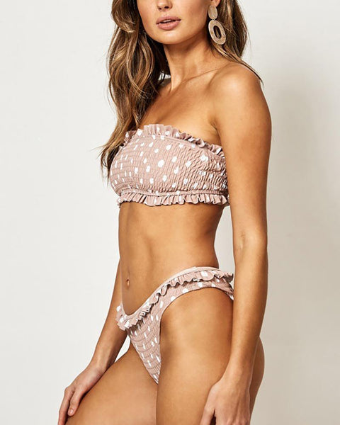 Lace Polka Dot Pleated Bikini