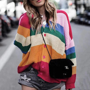 Casual V Neck Single-Breasted Color Block Sweater