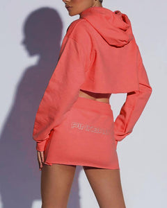 Fashion Letter Long Sleeve Umbilical Hooded Sweater Suit