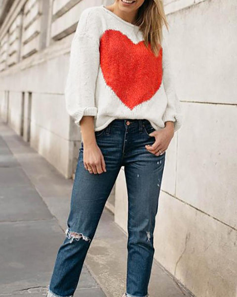 Fashion Word Collar Love Intarsia Sweaters