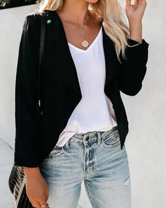 Simple Pure-Color Long-Sleeved Jacket