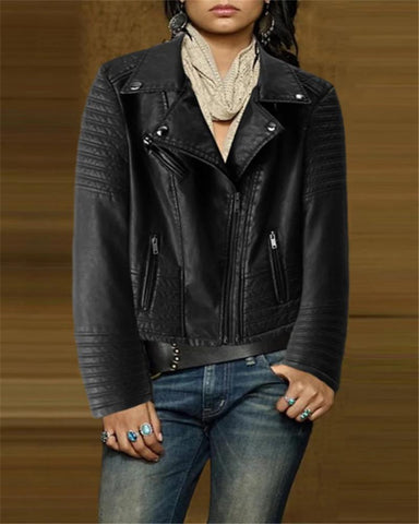 Fashion Pleated Lapel Leather Short Motorcycle Jacket