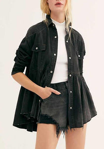 Fashion Casual Single Breasted Ruffle Hem Jacket