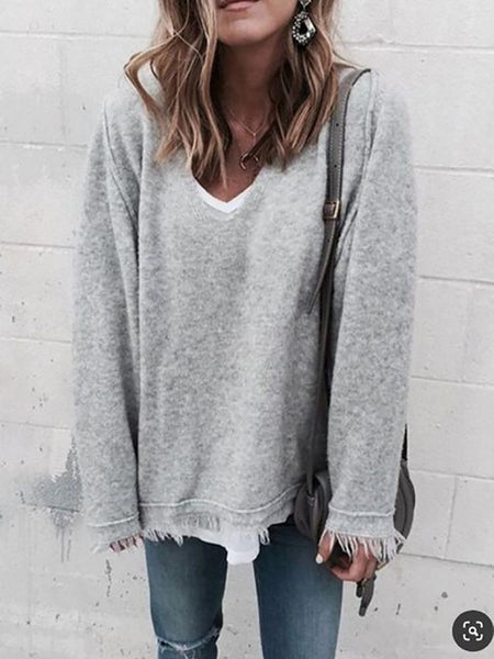 Casual V Neck Pure Colour Long Sleeve T-Shirts