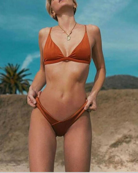 Solid Color Double-Sided Sexy Split Bikini