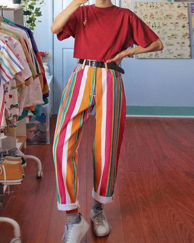 Fashion Color Vertical Stripes Straight Trousers
