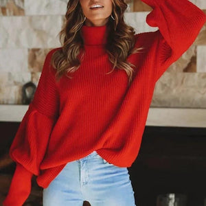 Simple High Collar Solid Color Long Sleeve Sweaters