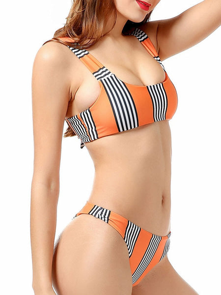Orange Vertical Striped  High-Rise Women Bikini