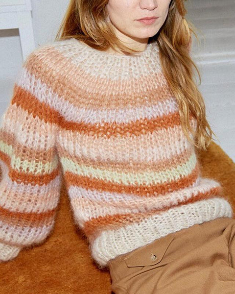 Sweet Multicolor Round Neck Lantern Sleeve Sweater