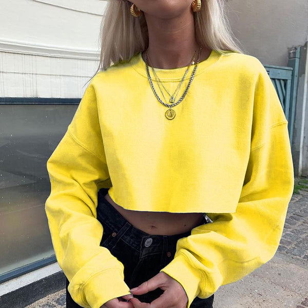 Sexy round neck solid color long sleeve short Sweatshirt