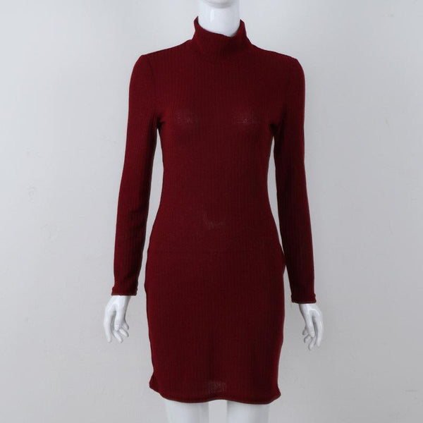 High-Neck Slim Pockets Pure Color Wool Long-Sleeved Dress