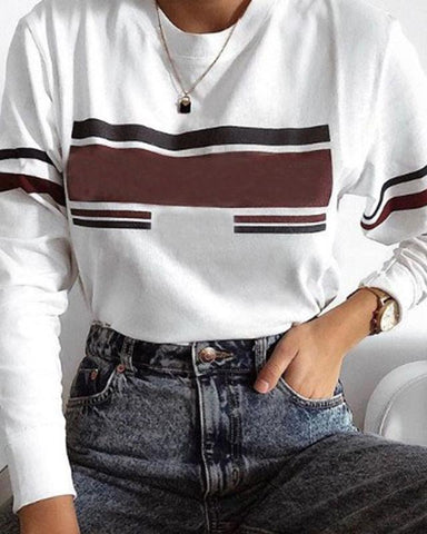 Casual Solid Color Striped Long-sleeved Top