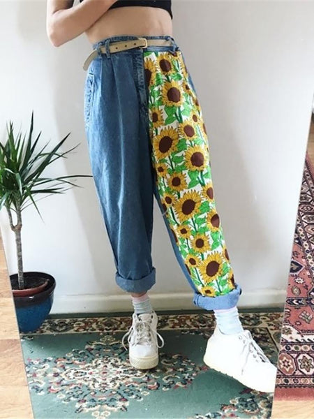 Women's sunflower print loose jeans RS001