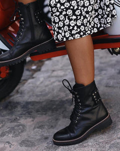 Women's fashion black rivets straps decorative short boots