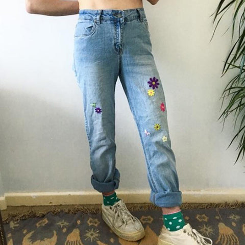 Women's fashion flower embroidery blue pants