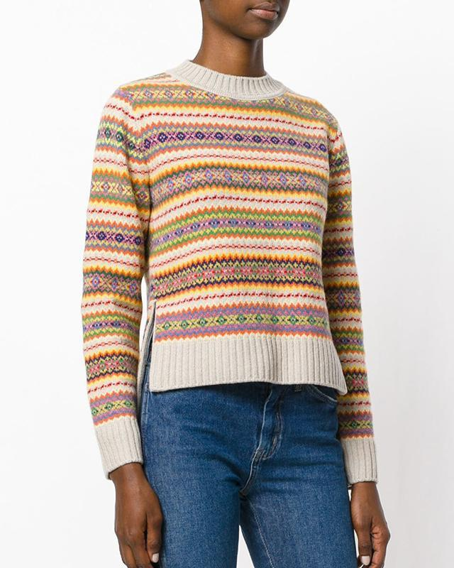Geometric Pattern Round Neck Sweater