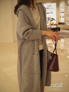 Hooded  Plain  Long Sleeve Coats