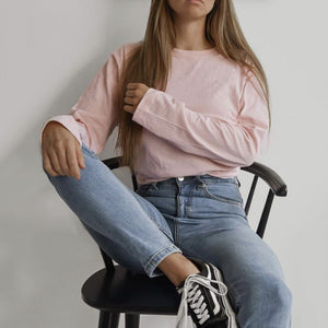 casual loose round neck pink long sleeves sweatershirt