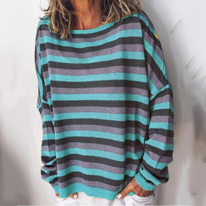 Casual colorblock striped long-sleeved top