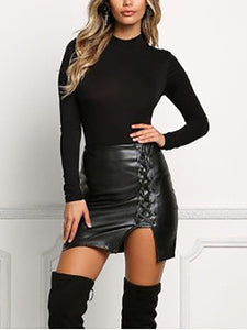 Lace-Up Slit  Plain Mini Skirts