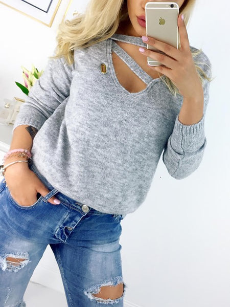 V-Neck  Patchwork  Decorative Button  Plain Long Sleeve T-Shirts