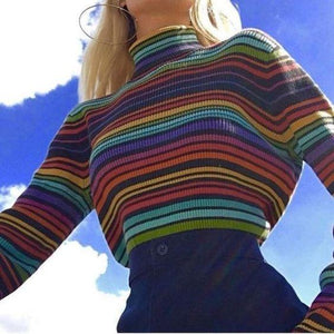 Women's Casual High Collar Rainbow Stripe Loose Sweater