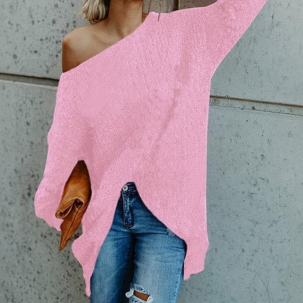 Solid Color Long-sleeved Shoulder Out Women Sweater
