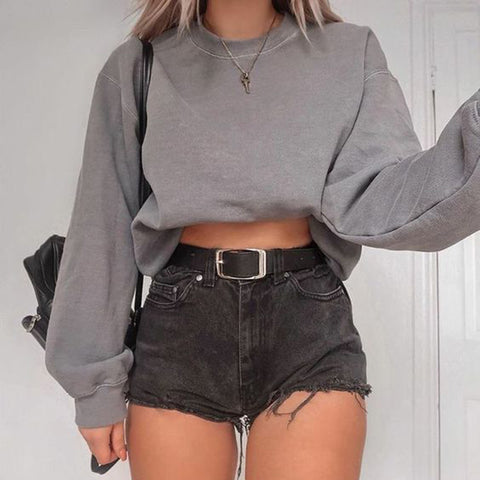 casual gray round neck long puff sleeves loose sweatershirt