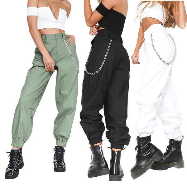 Casual Solid Color Sports Loose Feet Pants