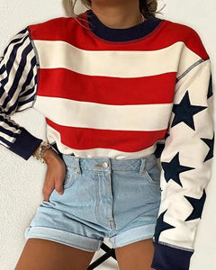 Women's Fashion Striped Printed Round Neck Long-Sleeved Sweater