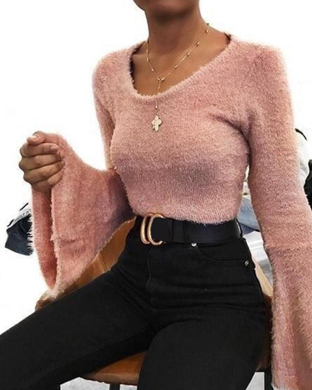 Women's Casual Round Neck Pure Color Long Sleeve Sweater