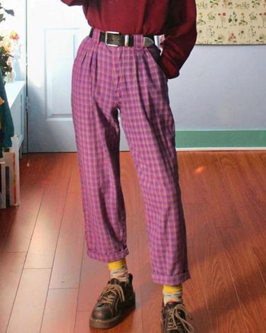 Women's Fashion Loose Plaid Trousers