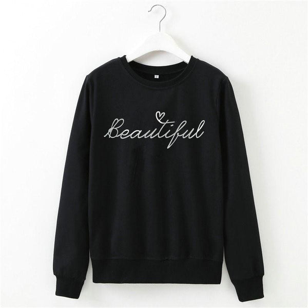 Letter Printed Round Neck Long Sleeve Top