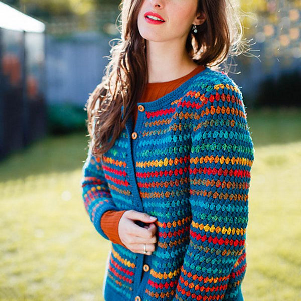 Retro Contrast Color Single Breasted Knit Cardigan
