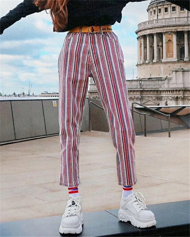 Fashion Color Matching Striped Pants