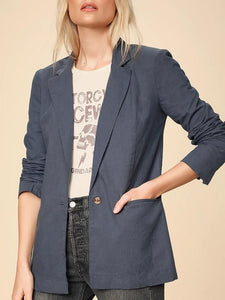 Casual Solid Color Loose One Button Blazer