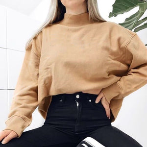 Women's Casual Round Neck Long Sleeve Pure Color Loose Sweatshirt