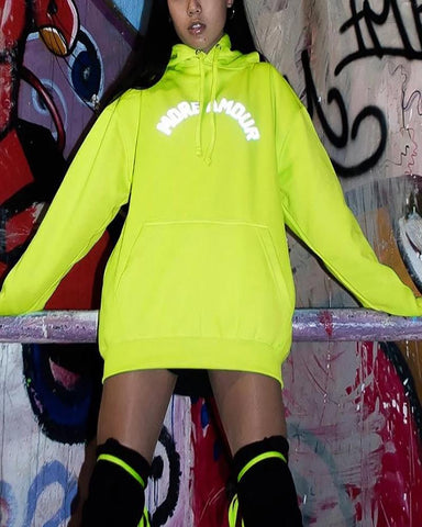 Fashion Fluorescent Reflective Letters Loose Hooded Sweatershirt