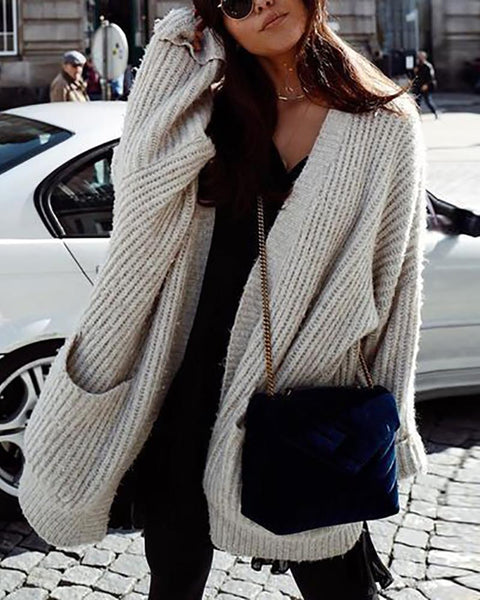 Casual Long Sleeved Loose Knitted Sweater
